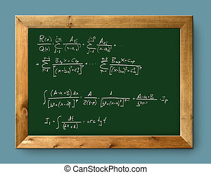 board green blackboard difficult mathematical formula -...