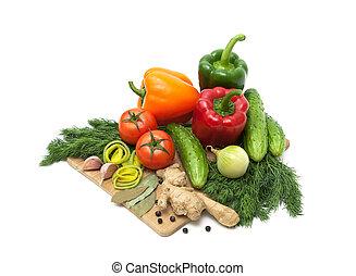 board., herbes, légumes, découpage, frais