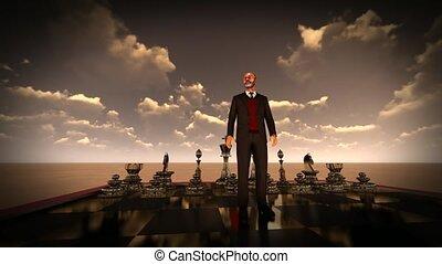 board., homme affaires, concept, brain-storming, échecs