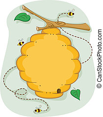 Beehive - Board Illustration of a Beehive Surrounded by Bees