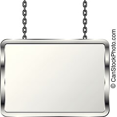 Board in a metal frame hanging on chains. Silver signboard. Isolated vector illustration.