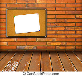 board in interior room with brick wall background