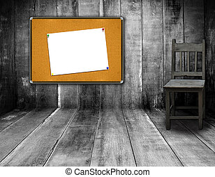 board in interior room with wooden wall background