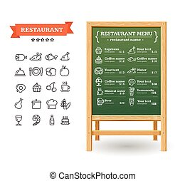 board., menu, vecteur, restaurant