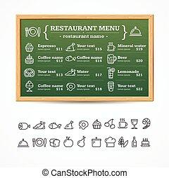 board., menu, vecteur, restaurant