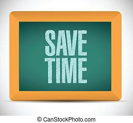 board., message, sauver, illustration, temps