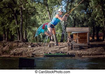 board., mulher, pular