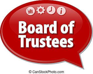 Board of Trustees Business term speech bubble illustration