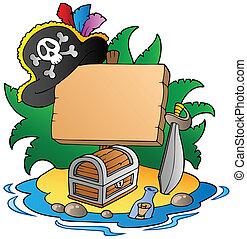 Board on pirate island - vector illustration.