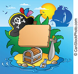 Board on pirate island with ship - vector illustration.