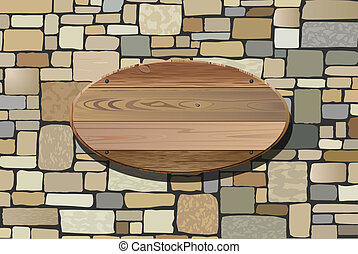 vector illustration of stone wall and wooden board for your text