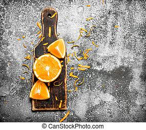 board., orange, vieux, tranches