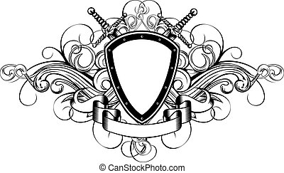Vector illustration frame with crossed swords and patterns