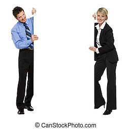 board - young business couple holding empty advert sign