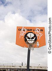 board., pomarańcza, wirus, koszykówka, tournament.