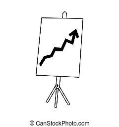 board presentation with arrow
