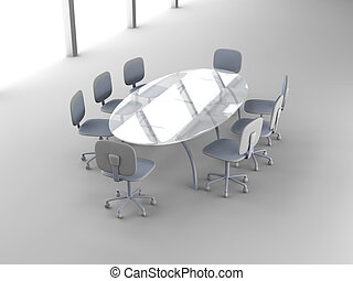 3D rendered Boardroom.