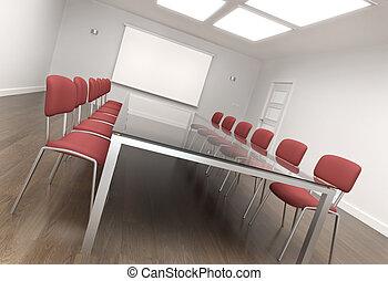 Board room - Empty conference room. 3D render.