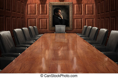 Executive board room with empty executive chairs