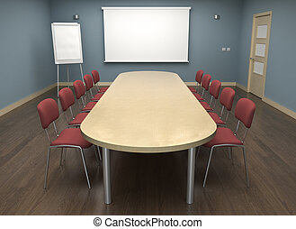 Board room with empty screen and flipchart - 3D render.