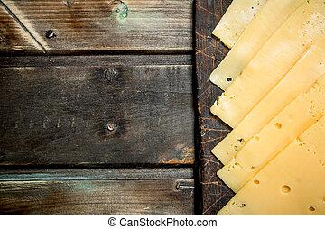 board., sýr, výstřižek, hubený, řezy