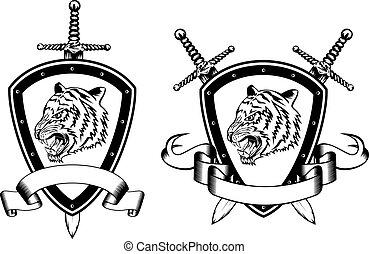 board sword and tiger head