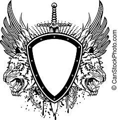 board sword and tigesr head