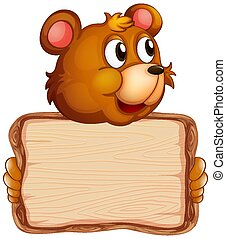 Board template with cute bear on white background