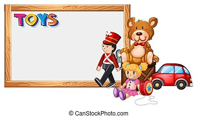 Board template with cute toys illustration