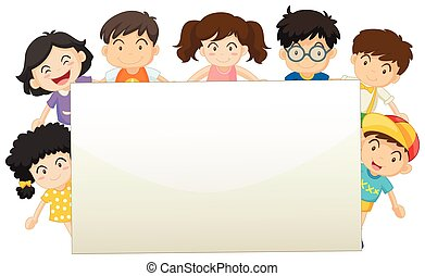 Board template with happy children