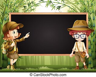 Board template with kids in safari outfit illustration