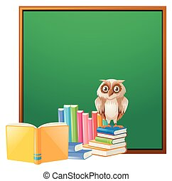 Board template with owl and books