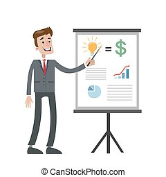 board., uomo affari, grafico