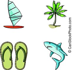 Board with a sail, a palm tree on the shore, slippers, a white shark. Surfing set collection icons in cartoon style vector symbol stock illustration web.