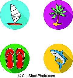 Board with a sail, a palm tree on the shore, slippers, a white shark. Surfing set collection icons in flat style vector symbol stock illustration web.