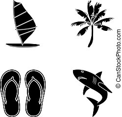 Board with a sail, a palm tree on the shore, slippers, a white shark. Surfing set collection icons in black style vector symbol stock illustration web.