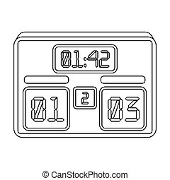 Board with a score of football. Fans single icon in outline style bitmap, raster symbol stock illustration.