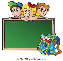 Board with children and school bag - vector illustration.