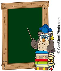 Board with owl teacher and books - isolated illustration.