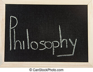 Board with PHILOSOPHY - A black board with a wooden frame...
