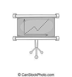 Board with statistics icon, black monochrome style