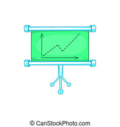 Board with statistics icon, cartoon style