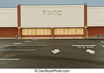 Boarded Up Out Of Business Store