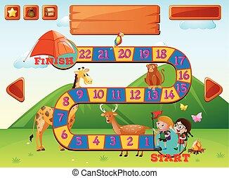 boardgame, 樣板, 由于, 孩子, 以及, 動物