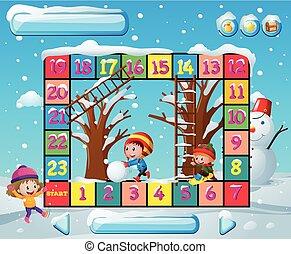 boardgame, modelo, com, crianças, em, inverno