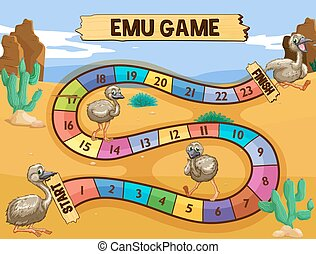 Boardgame template with emu in the field illustration