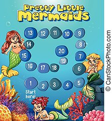 Boardgame template with mermaids under the sea