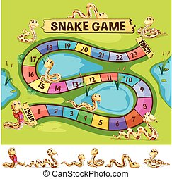 Boardgame template with snakes crawling