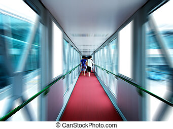 Boarding bridge - Passenger boarding bridges, Motion Blur.