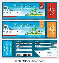 boarding, cruise, honeymoon, bryllup, vektor, skabelon,...